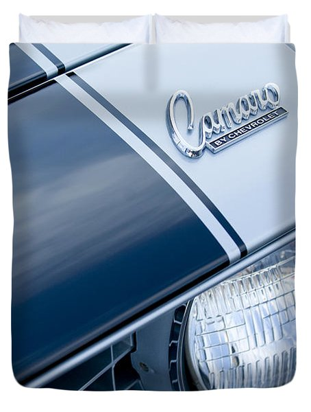 1969 Chevrolet Camaro Z-28 Emblem Duvet Cover