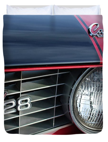 1969 Chevrolet Camaro Z-28 Grille Emblem Duvet Cover by Jill Reger