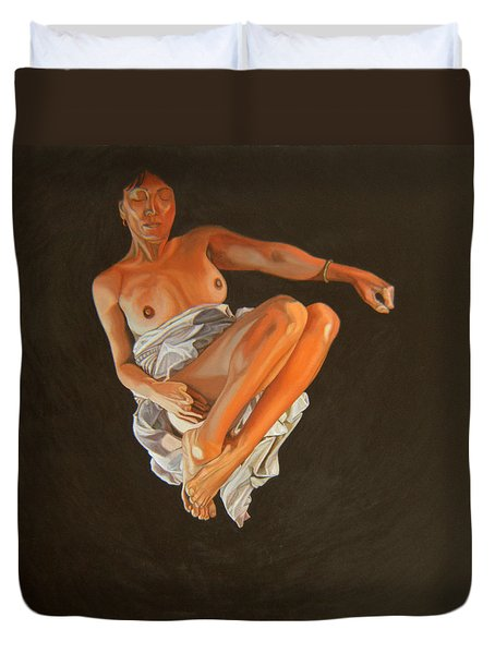 Duvet Cover featuring the painting 4 30 Am by Thu Nguyen