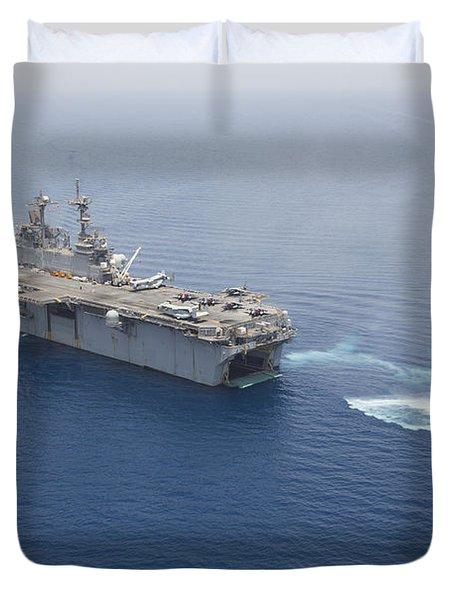 A Landing Craft Air Cushion Approaches Duvet Cover