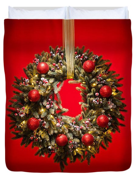 Advent Wreath Over Red Background Duvet Cover
