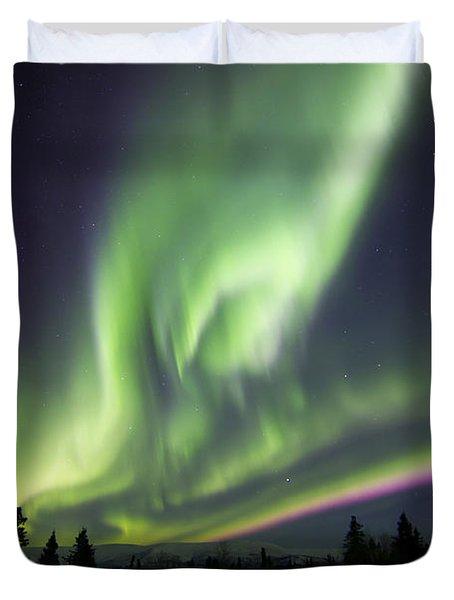 Aurora Borealis Over A Ranch Duvet Cover by Joseph Bradley