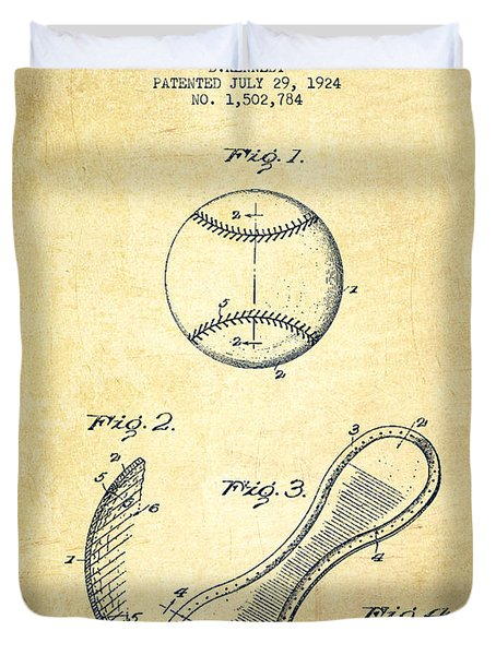 Baseball Cover Patent Drawing From 1924 Duvet Cover