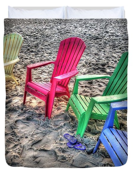 Duvet Cover featuring the digital art 4 Beach Chairs by Michael Thomas
