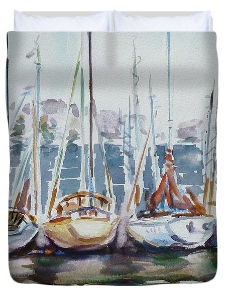 4 Boats Duvet Cover by Xueling Zou