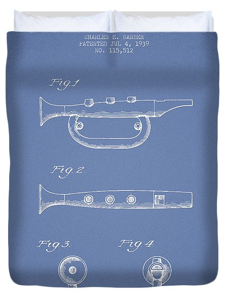 Bugle Call Instrument Patent Drawing From 1939 - Light Blue Duvet Cover by Aged Pixel