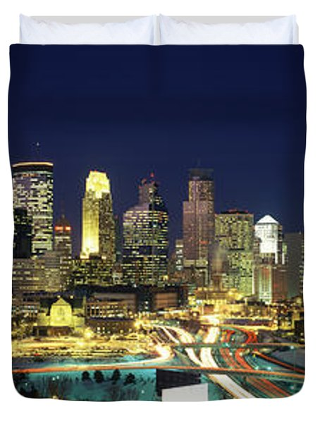 Buildings Lit Up At Night In A City Duvet Cover