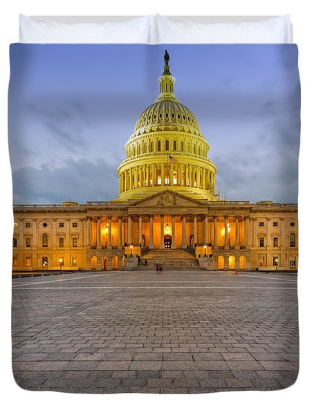 Duvet Cover featuring the photograph Capitol Building by Peter Lakomy