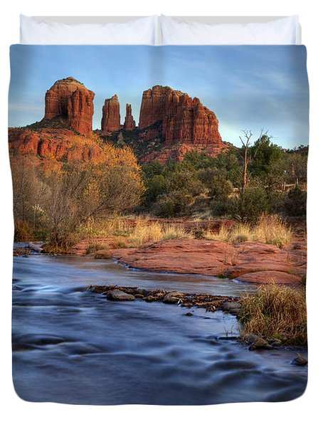 Cathedral Rocks In Sedona Duvet Cover by Alan Vance Ley