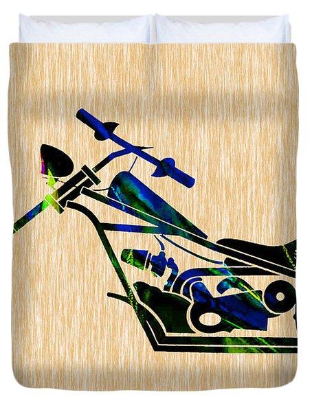 Chopper Motorcycle Duvet Cover