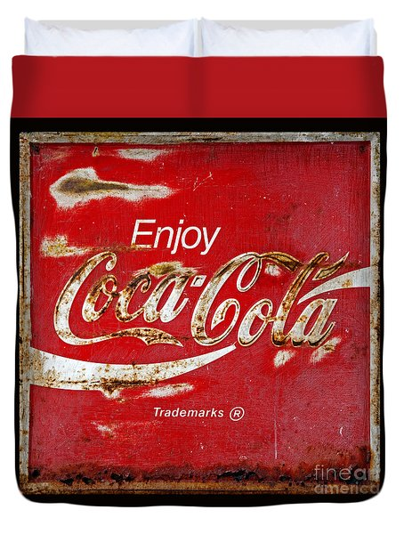 Coca Cola Vintage Rusty Sign Black Border Duvet Cover by John Stephens
