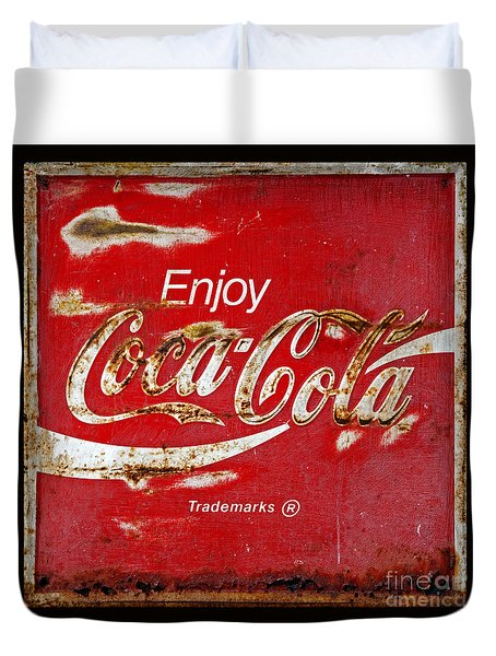 Coca Cola Vintage Rusty Sign Black Border Duvet Cover