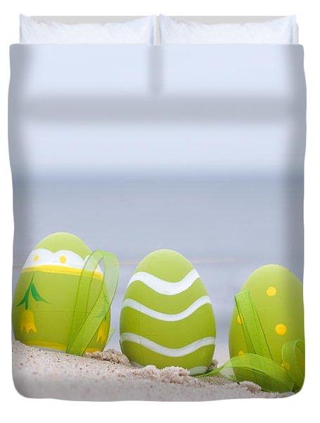 Easter Decorated Eggs On Sand Duvet Cover by Michal Bednarek