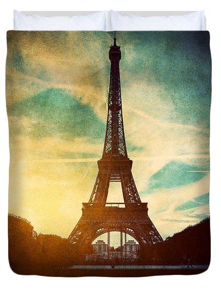 Eiffel Tower In Paris Fance In Retro Style Duvet Cover by Michal Bednarek