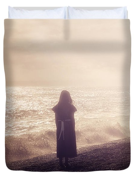 Girl On Beach Duvet Cover by Joana Kruse