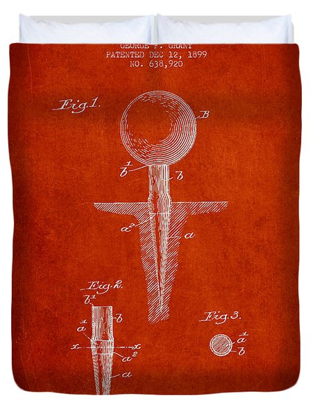 Golf Tee Patent Drawing From 1899 Duvet Cover