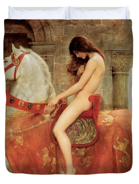 Duvet Cover featuring the painting Lady Godiva by John Collier