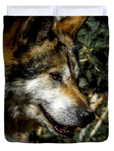 Mexican Grey Wolf Duvet Cover by Ernie Echols