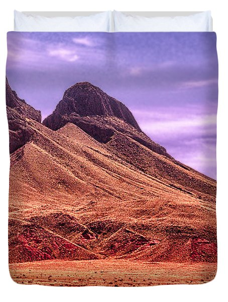 Navajo Nation Series Along 87 And 15 Duvet Cover by Bob and Nadine Johnston