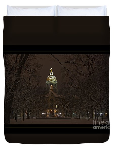 Notre Dame Golden Dome Snow Poster Duvet Cover