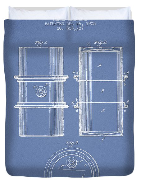 Oil Drum Patent Drawing From 1905 Duvet Cover by Aged Pixel