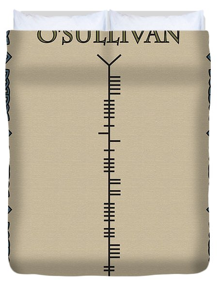 Duvet Cover featuring the digital art O'sullivan Written In Ogham by Ireland Calling