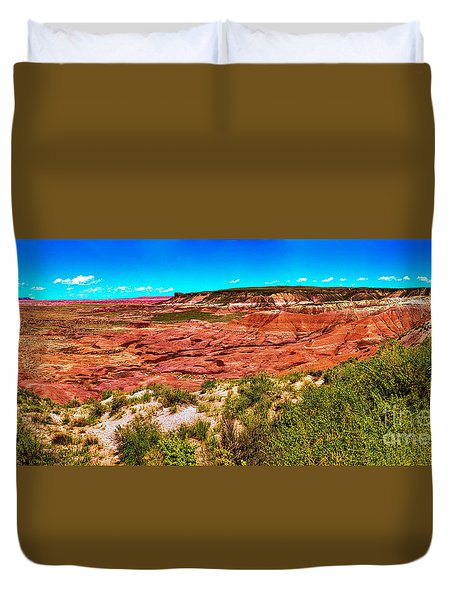 Painted Desert National Park Panorama Duvet Cover by Bob and Nadine Johnston