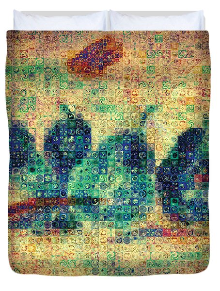 Duvet Cover featuring the painting 4 Pears Mosaic by Paula Ayers