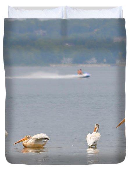 4 Pelicans Duvet Cover