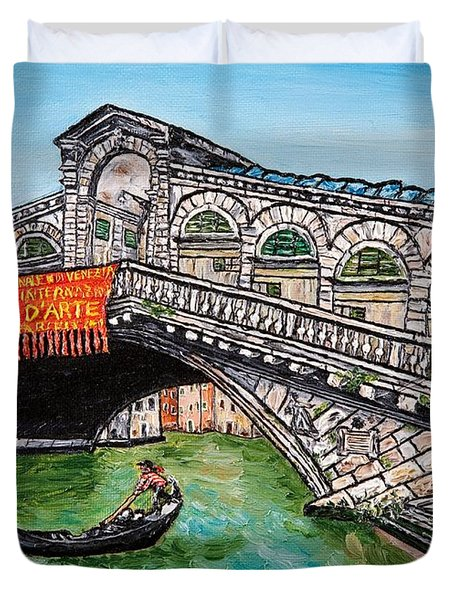 Ponte Di Rialto Duvet Cover by Loredana Messina