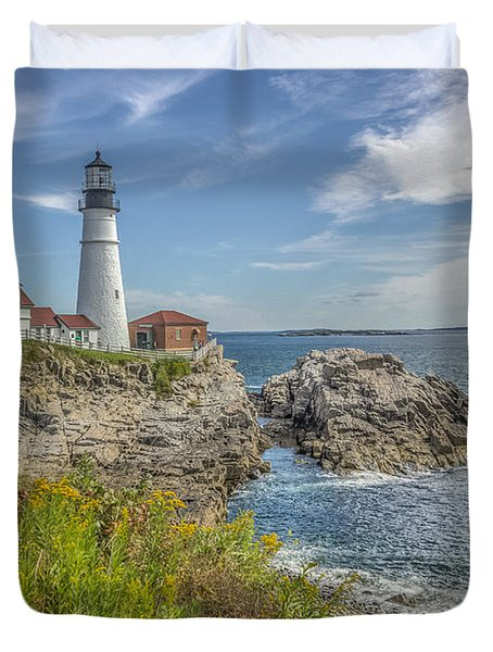 Duvet Cover featuring the photograph Portland Headlight by Jane Luxton