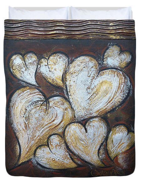 Duvet Cover featuring the painting Precious Hearts 301110 by Selena Boron