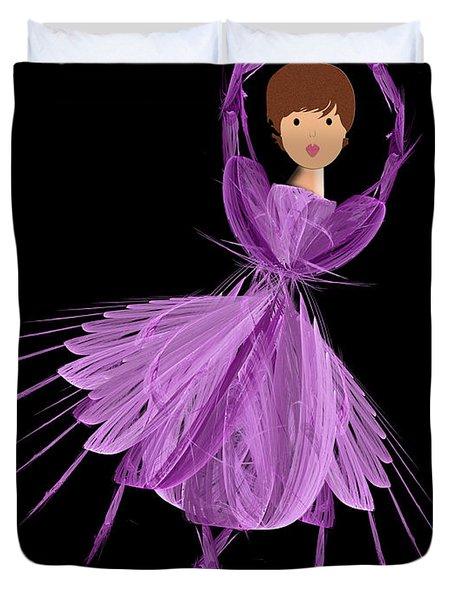 4 Purple Ballerina Duvet Cover by Andee Design