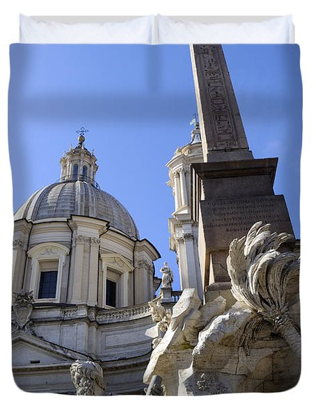 4 Rivers Fountain By Bernini In Rome Duvet Cover