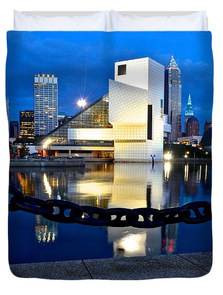 Rock And Roll Hall Of Fame Duvet Cover by Frozen in Time Fine Art Photography