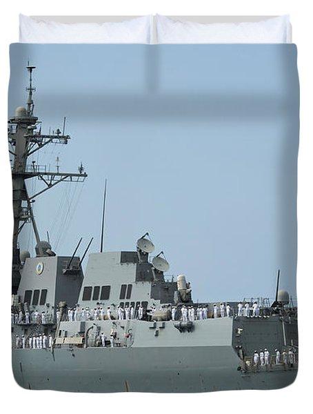 Sailors Man The Rails Aboard Duvet Cover