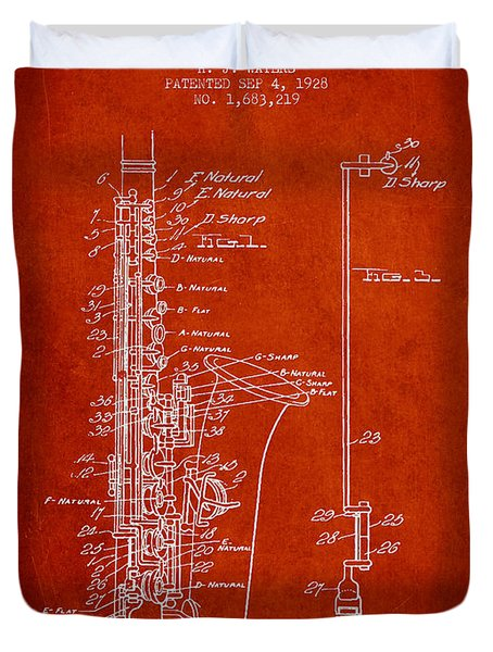 Saxophone Patent Drawing From 1928 Duvet Cover by Aged Pixel