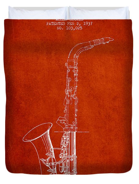 Saxophone Patent Drawing From 1937 - Red Duvet Cover by Aged Pixel