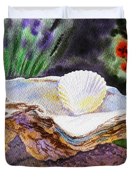 Sea Shell And Pearls Morning Light Duvet Cover