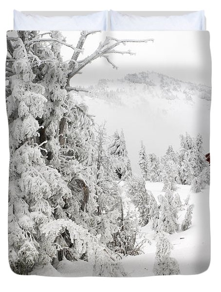 Snow And Ice On Trees Duvet Cover by John Shaw