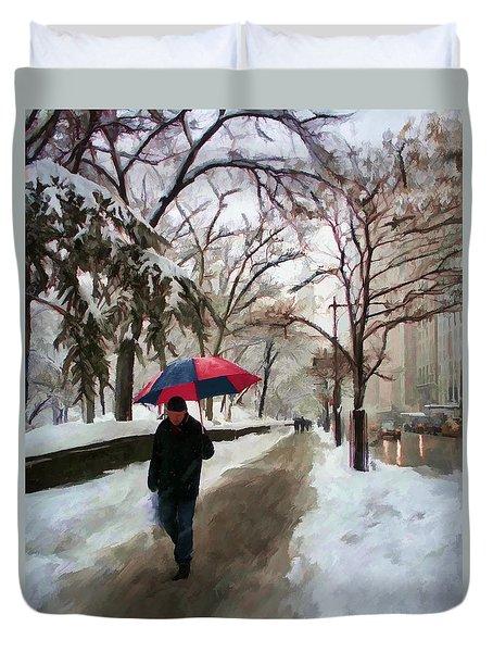 Snowfall In Central Park Duvet Cover