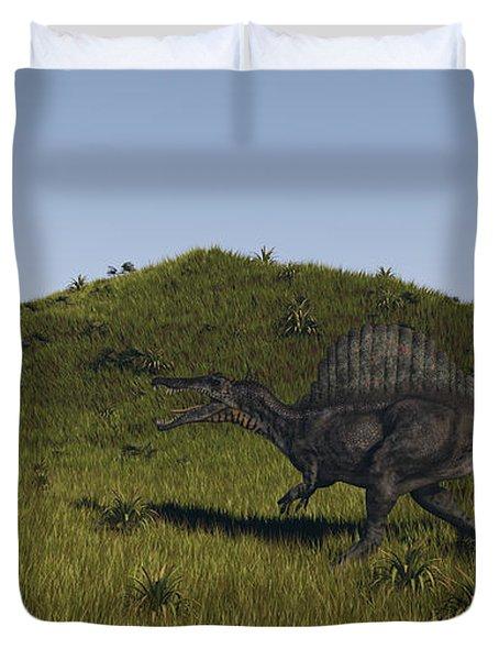 Spinosaurus Walking Across A Grassy Duvet Cover by Kostyantyn Ivanyshen