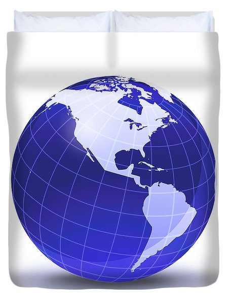 Stylized Earth Globe With Grid, Showing Duvet Cover