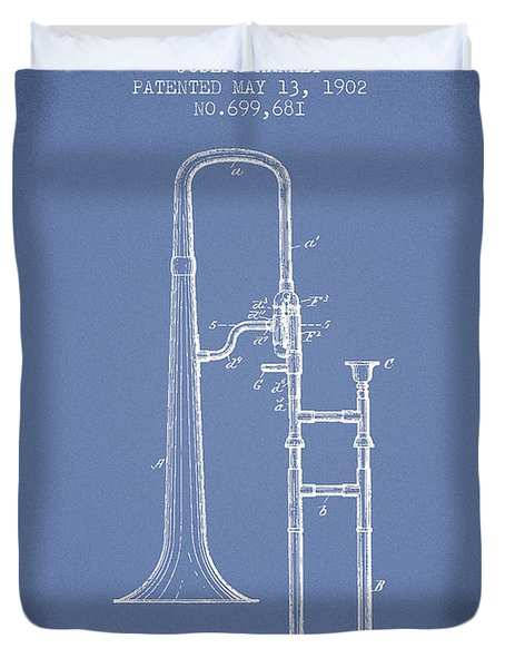 Trombone Patent From 1902 - Light Blue Duvet Cover by Aged Pixel