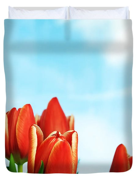 Tulips Background Duvet Cover by Michal Bednarek