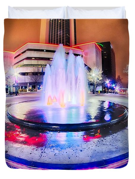 Tulsa City Skyline Around Downtown Streets Duvet Cover