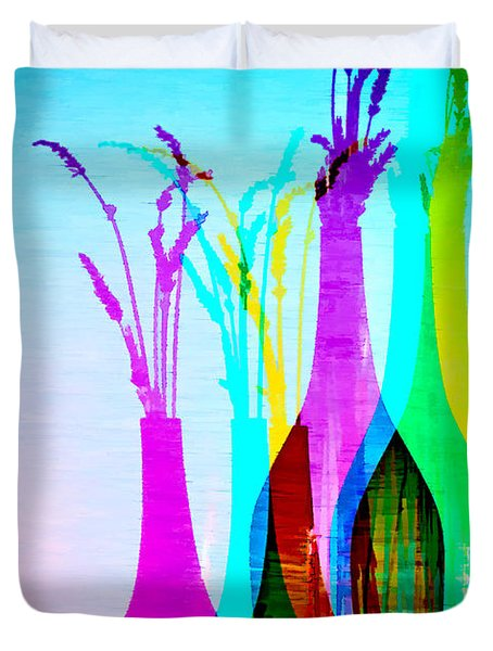 4 Vases In Colored Light Silhouettes Duvet Cover