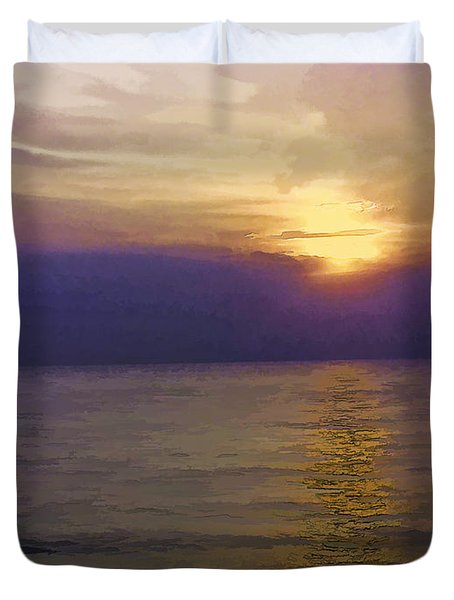 View Of Sunset Through Clouds Duvet Cover