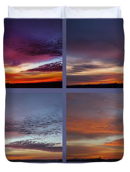 Duvet Cover featuring the photograph 4 Views Of Sunrise 2 by Michael Waters