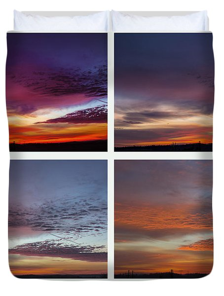 4 Views Of Sunrise Duvet Cover